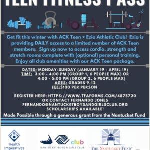 Teen Fitness Pass   Nantucket, MA
